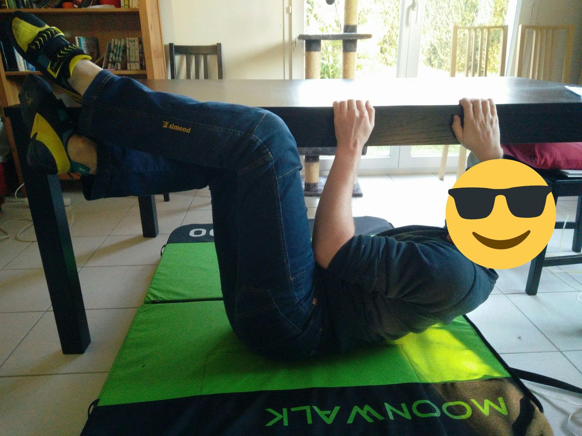 Moi, grimpant sur la table du salon.
